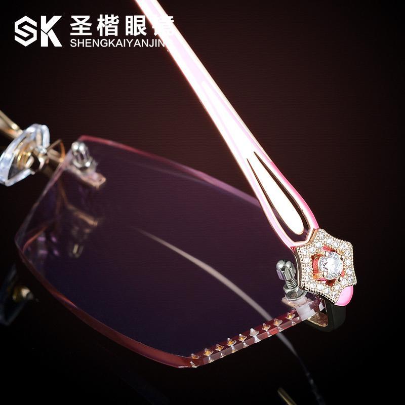 Tanpa Bingkai Diamond Pemangkasan Kacamata Wanita Elegan Sangat Ringan  Bingkai Titanium Elegan Bingkai Kacamata Produk Jadi b35d5a7d7a