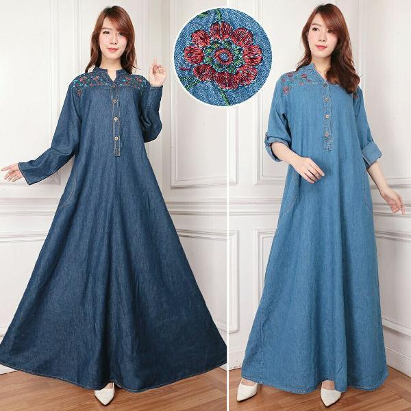 Promo Hari Ini So Lavina Maxi Dress Terusan Gamis Syari Jeans Wash Bordir XXL Big Size Jumbo Busui