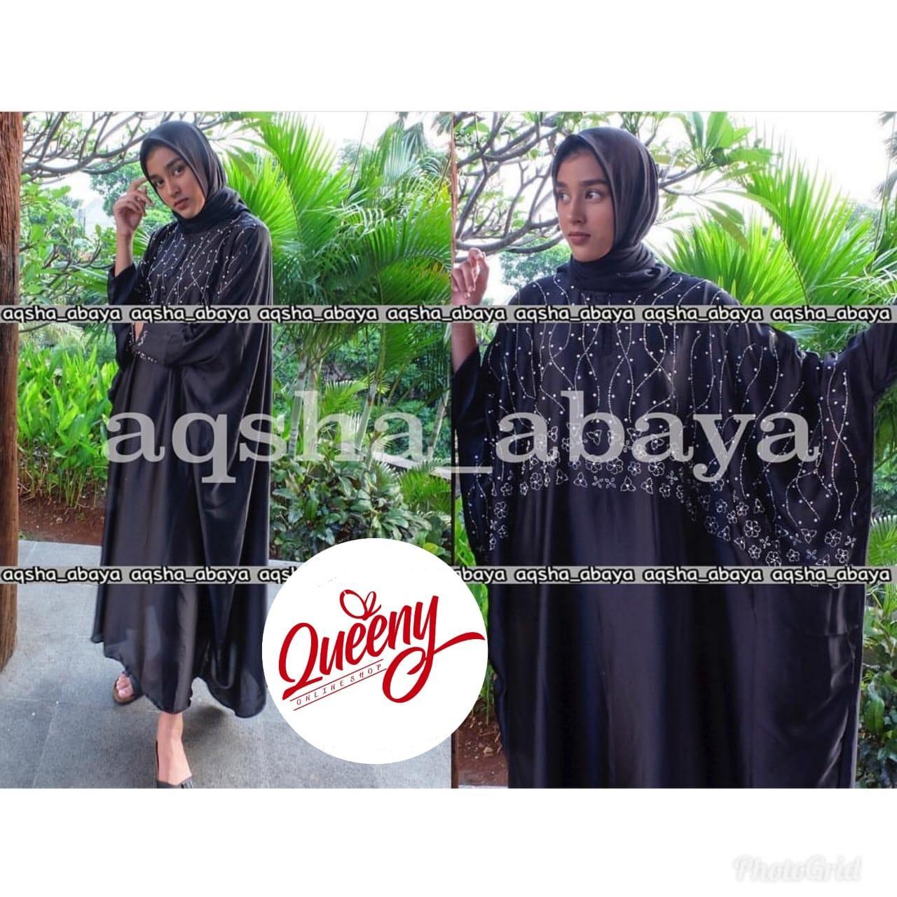 gamis abaya muslimah / kaftan arab islami / abaya satin marbella fashion muslim kombinasi payet mewah
