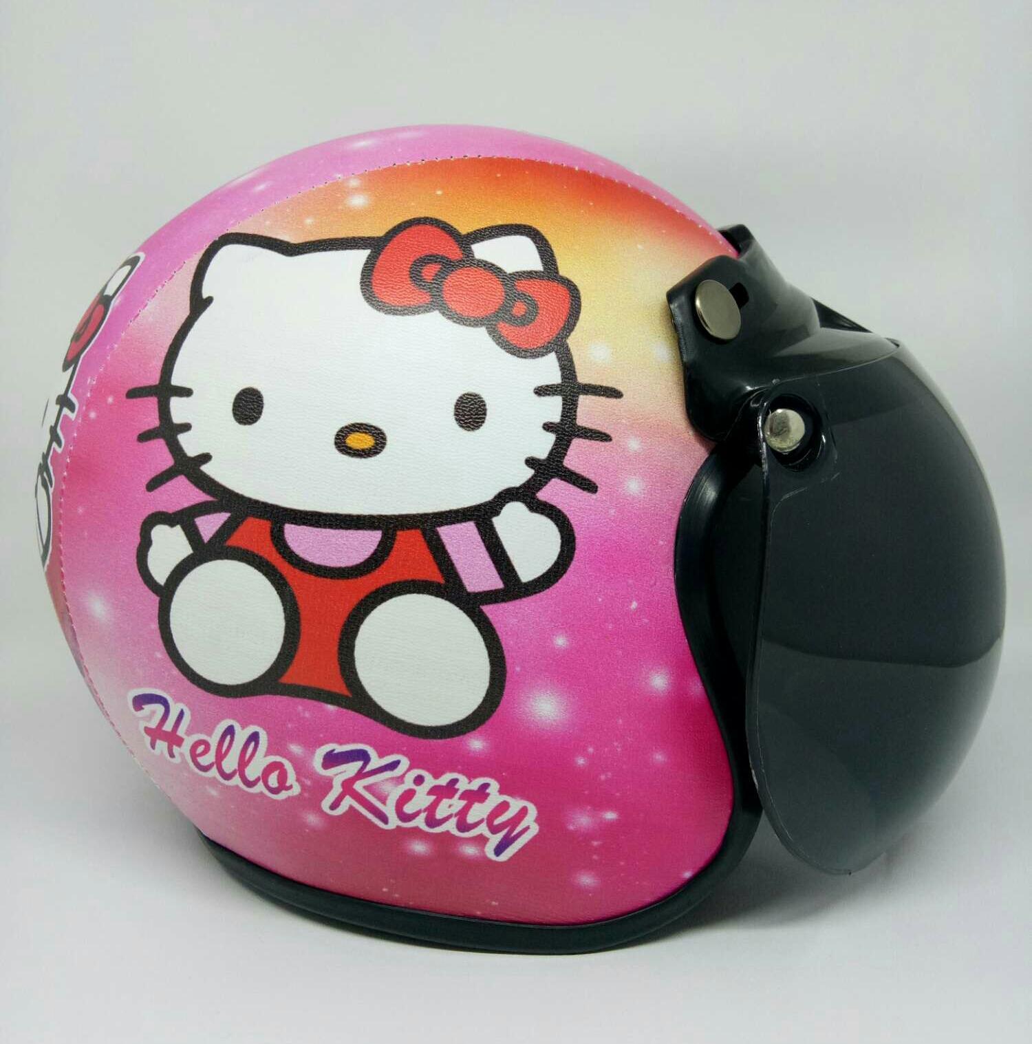 Helm Bogo Anak 2-10 tahun Motif Hello kitty Pink Kaca Anak