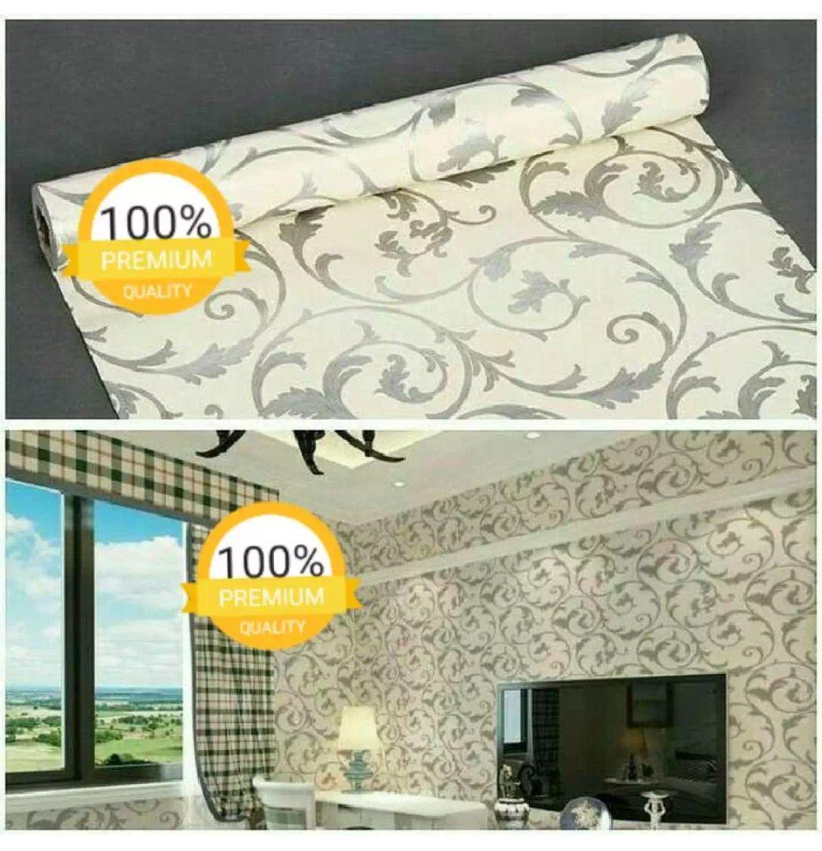 Wallpaper Stiker Dinding Motif Dan Karakter Premium Quality Size 45cm X 10M Batik Silver Tribal Bab
