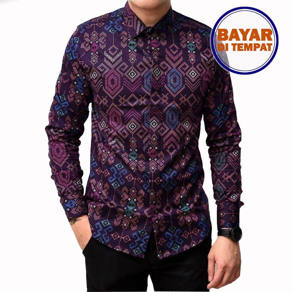 Maciku Kemeja Batik Songket Pria Slimfit Batik Songket Lengan Panjang Kemeja Pria Strip Purple