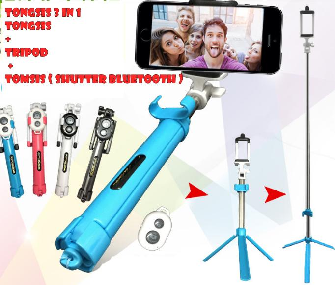 Tongsis Tripod + Remote Bluetooth / Tongsis 3in1 - FE024