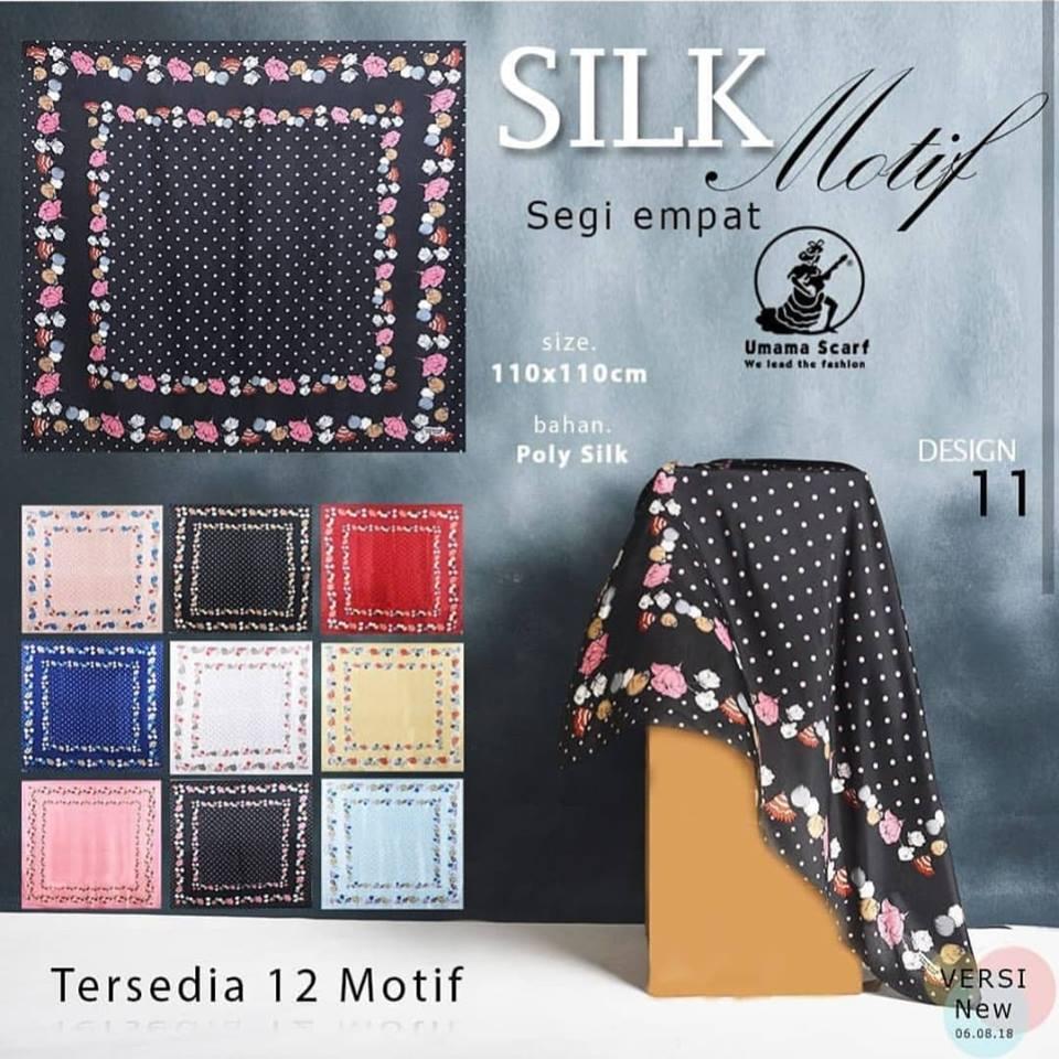 Hijab Segi Empat Motif bunga polkadot bahan satin / Jilbab Segi Empat Motif / Kerudung Segi Empat Motif /Hijab Segi Empat Umama scarf SILK