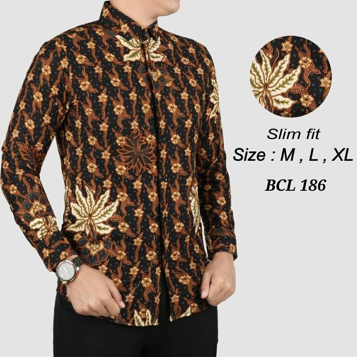Batik Slimfit Tangan Panjang Pria BCL 186-Hitam