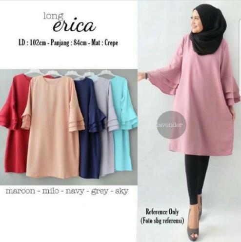 Baju Atasan Wanita Erika Long Tunik Baju Muslim Blus Muslim / baju / baju wanita / baju atasan wanita / baju motif / baju murah / baju keren / baju lucu / baju berkualitas