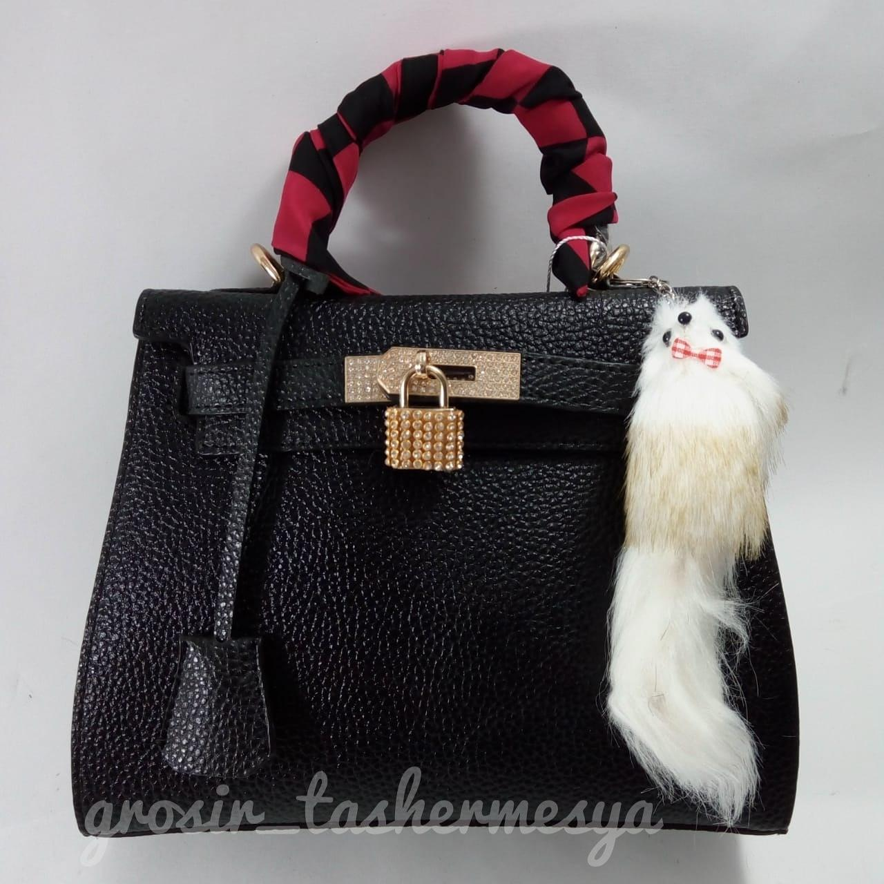 tas fashion SELEMPANG wanita import hermes kelly togo kulit jeruk gantungan bulu random dipadukan baju pesta kebaya modern casual
