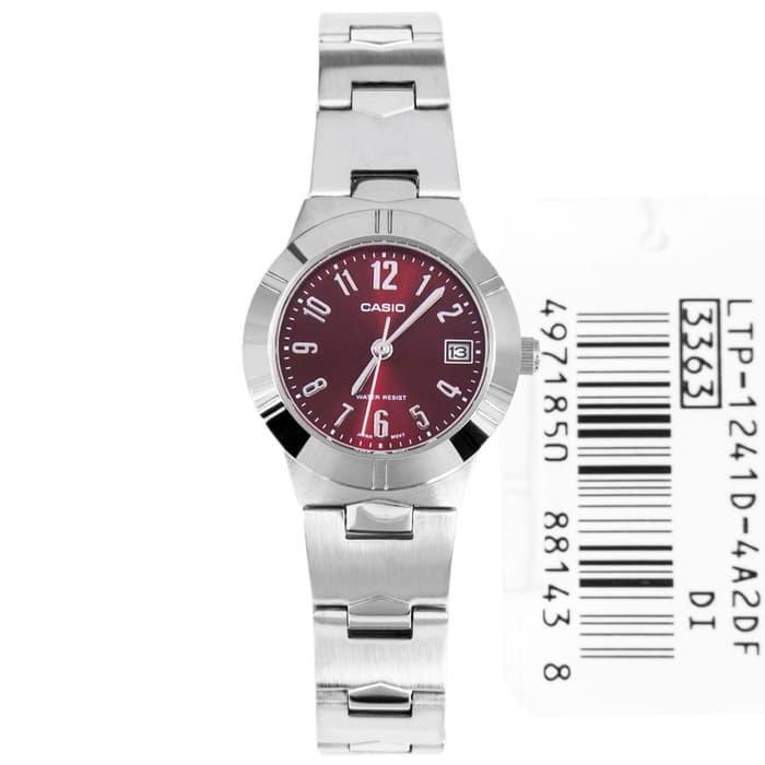 jam tangan casio wanita merah maroon ltp 1241d-4a2 diameter kecil ori