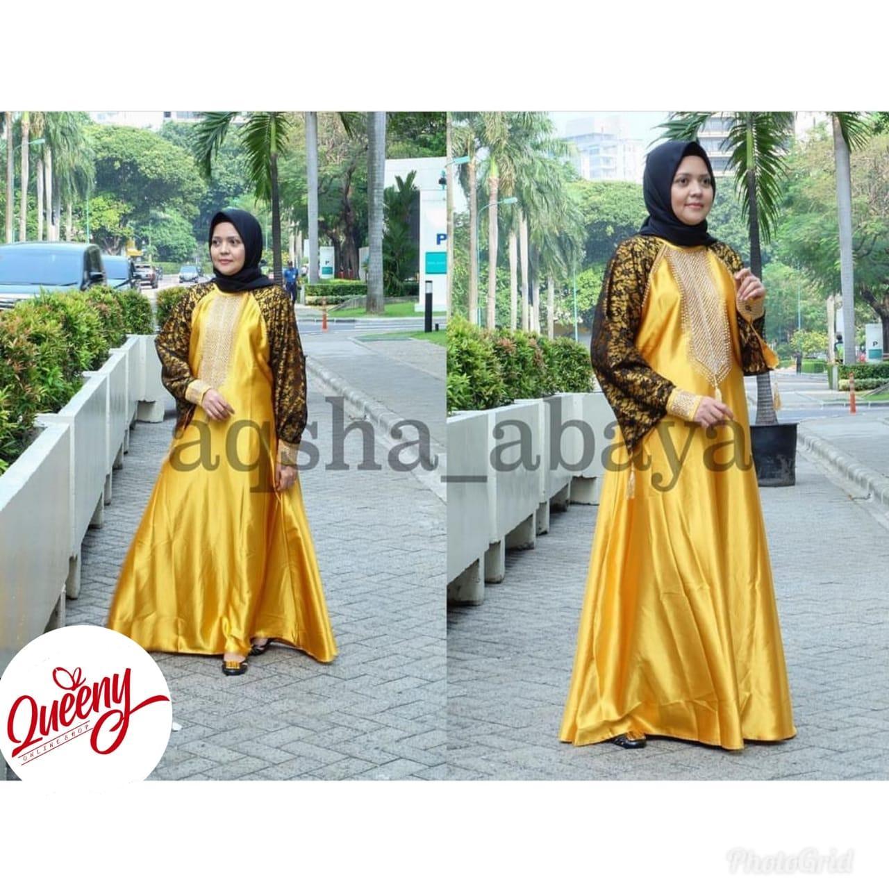gamis abaya muslimah / abaya arab islami / abaya satin marbella fashion muslim kombinasi tangan brukat