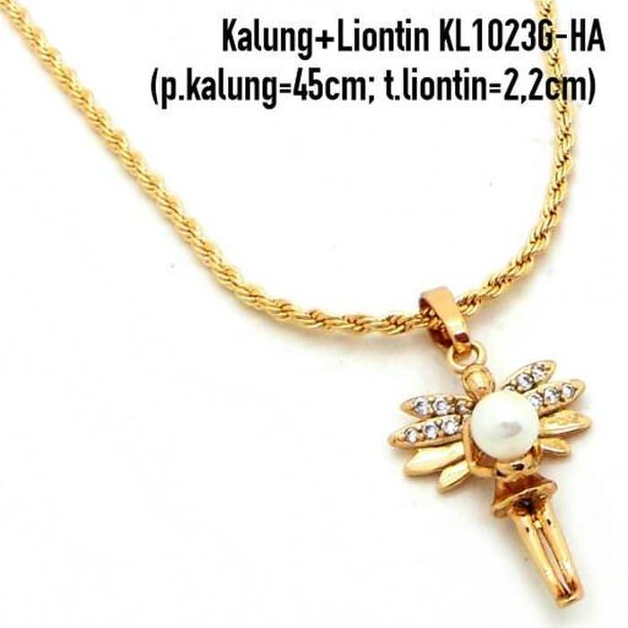 Kalung + Liontin Mutiara Perhiasan Lapis Emas Aksesoris Wanita KL1023G-HA