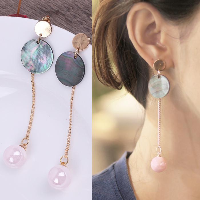 Anting Korea Bohemian Shell Pink Ball Earrings JN1067