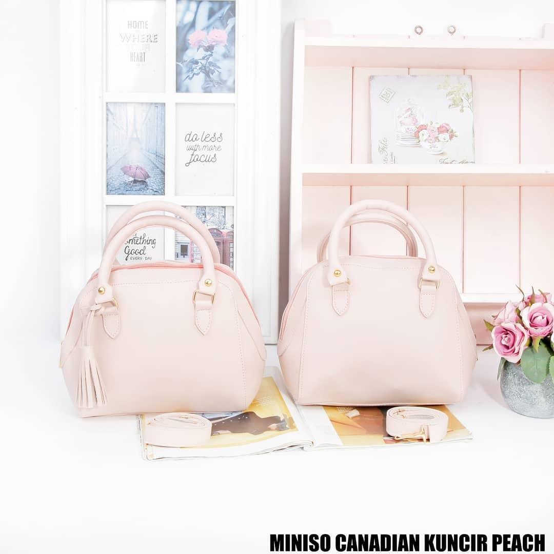 Tas Wanita Sling Bag Miniso Canadian Kuncir - Peach