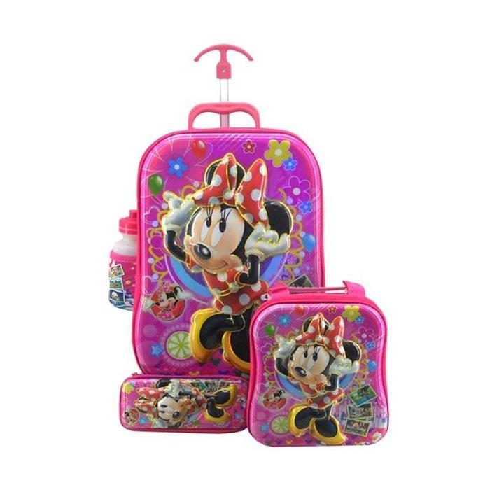 Sedang Diskon!! Tas Sekolah Troli Anak Koper Anak 4In1 6D Karakter Mickey Mouse 519 - ready stock