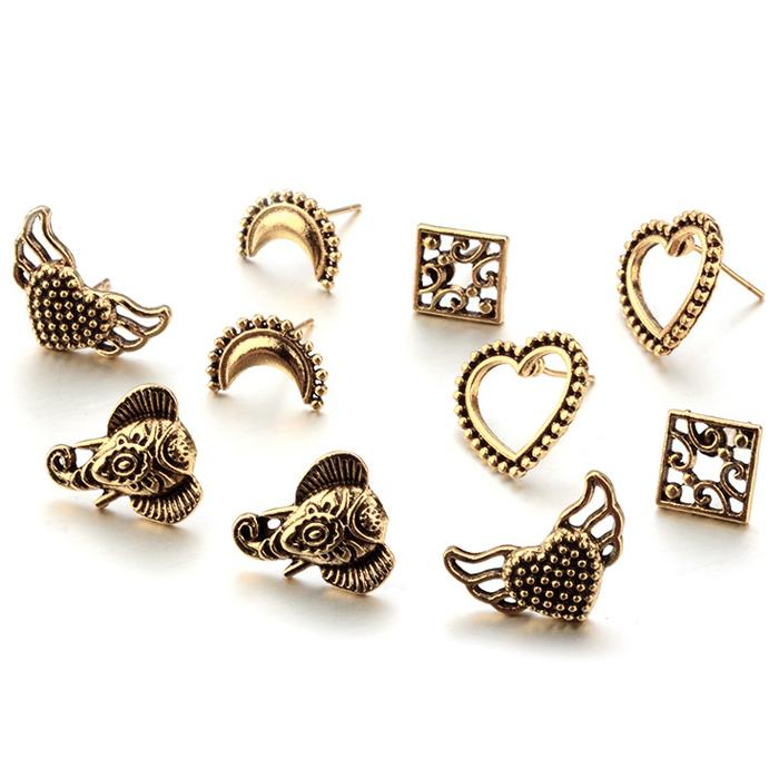 Anting Fashion Bohemian Love wings elephant moon fashion suits earrings 5 pairs - DES049