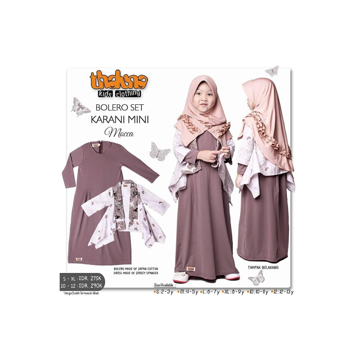 Gamis anak set jilbab - bolero batik anak - Baju keluarga - original
