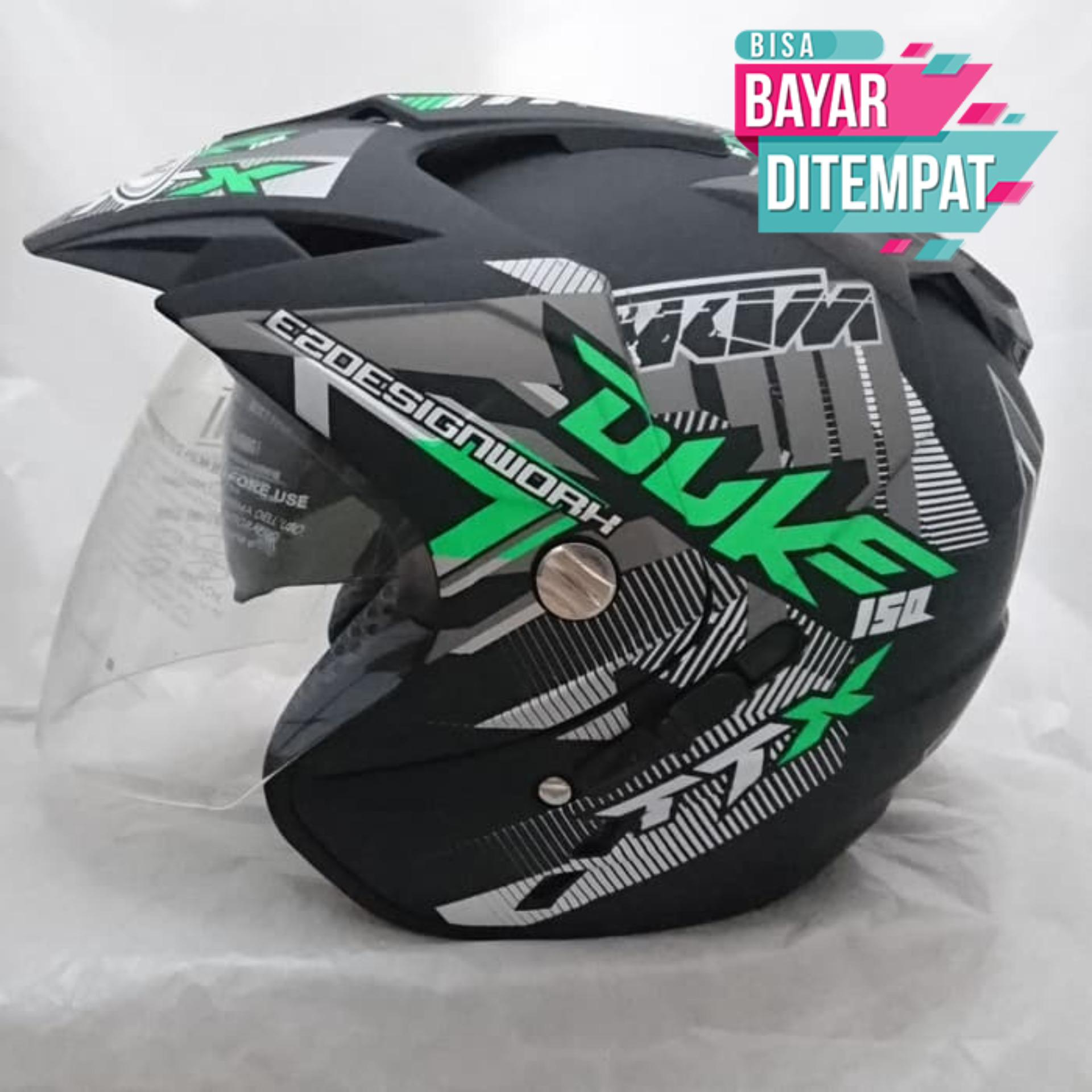 [Promo Best Seller] Helm DMN BXP 2 kaca double visor duke black doff green Kualitas Setara helm KYT INK GM WTO MSR BMC NHK
