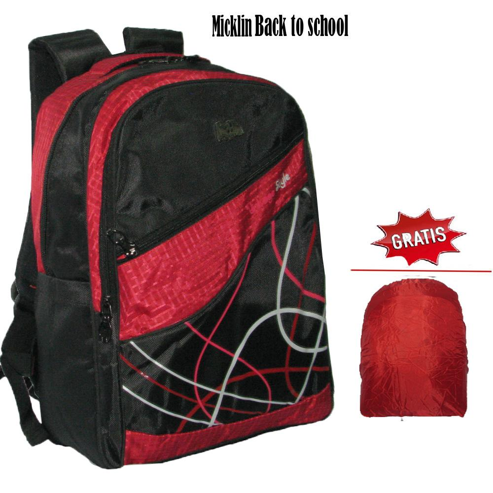Tas Ransel   Backpack Anak Unisex Micklin Back To School Casual Corak Merah 5e26774145