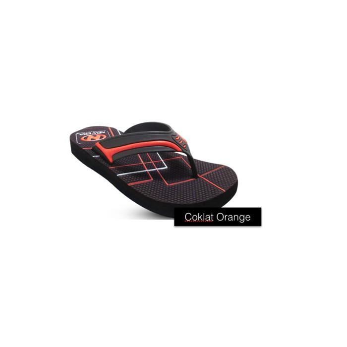 Sendal Jepit / Sandal Jepit Pria New Era Hrv Coklat Orange Size 41 43 - Ym6jes