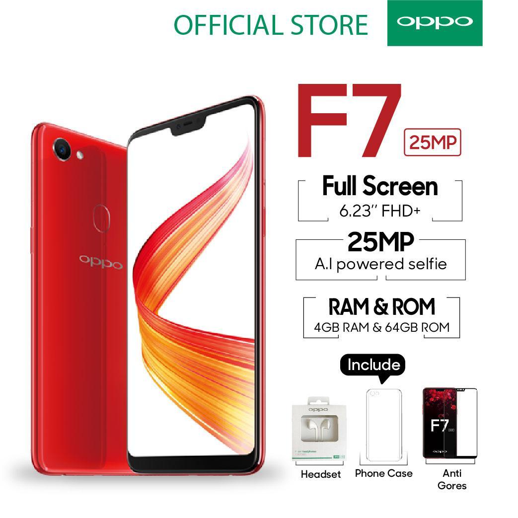 Oppo F7 SMARTPHONE 4GB/64GB RED Al-Powered Selfie 25 MP (COD, Garansi Resmi OPPO, Cicilan tanpa kartu kredit, Cicilan 0%, Gratis Ongkir)