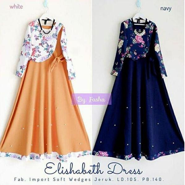 BPS Elishabeth Dress Gamis Wanita Dress Muslim Modern