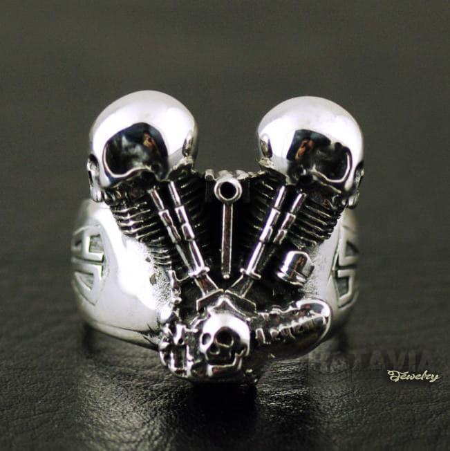 NEW PROMO Cincin Pria Cincin Titanium Ring Biker Harley Davidson Engine Skull HD