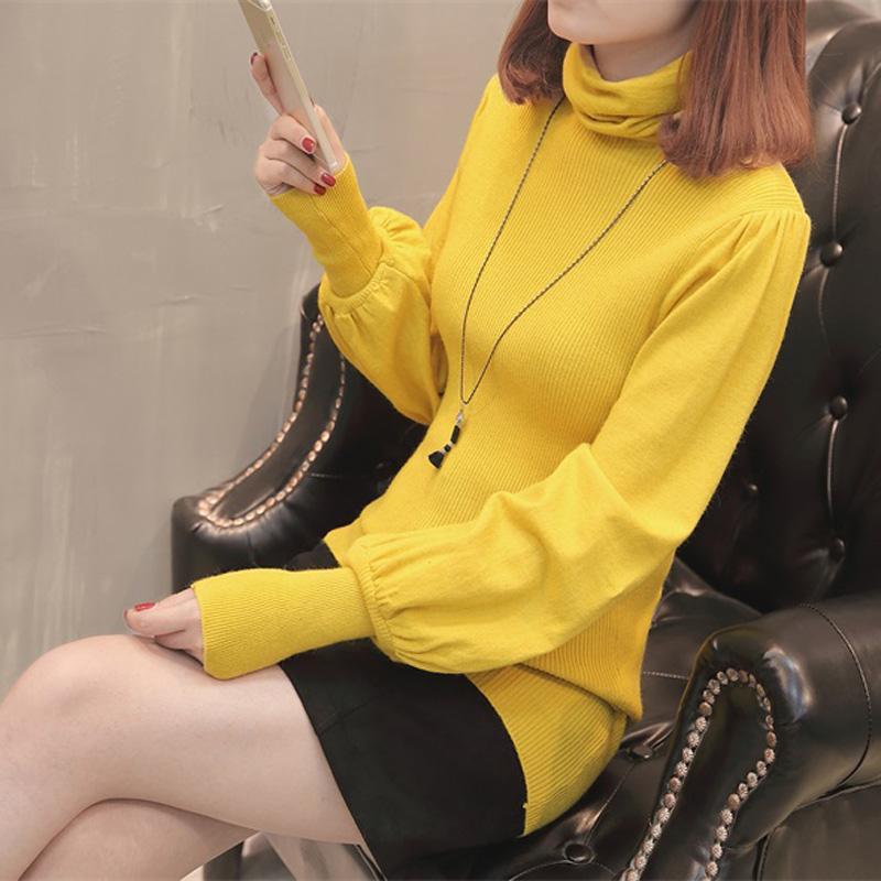 Sweater On Musim Gugur atau Musim Dingin Baru Baju Dalaman Perempuan Lengan Model Lampion (Bata Merah)