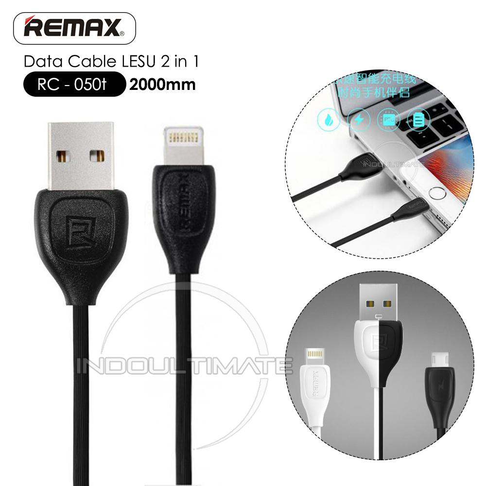 REMAX Lesu Data Cable 2 in 1-2M / RC-050t / Kabel Data Micro USB 2in1 Remax Fast Data Cable & Quick Charge