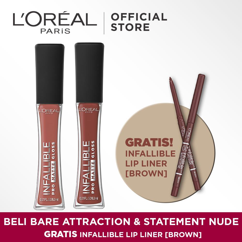 L'Oreal Paris Beli Pro Matte Gloss Bare Attraction & Statement Nude Gratis Infallible Liner