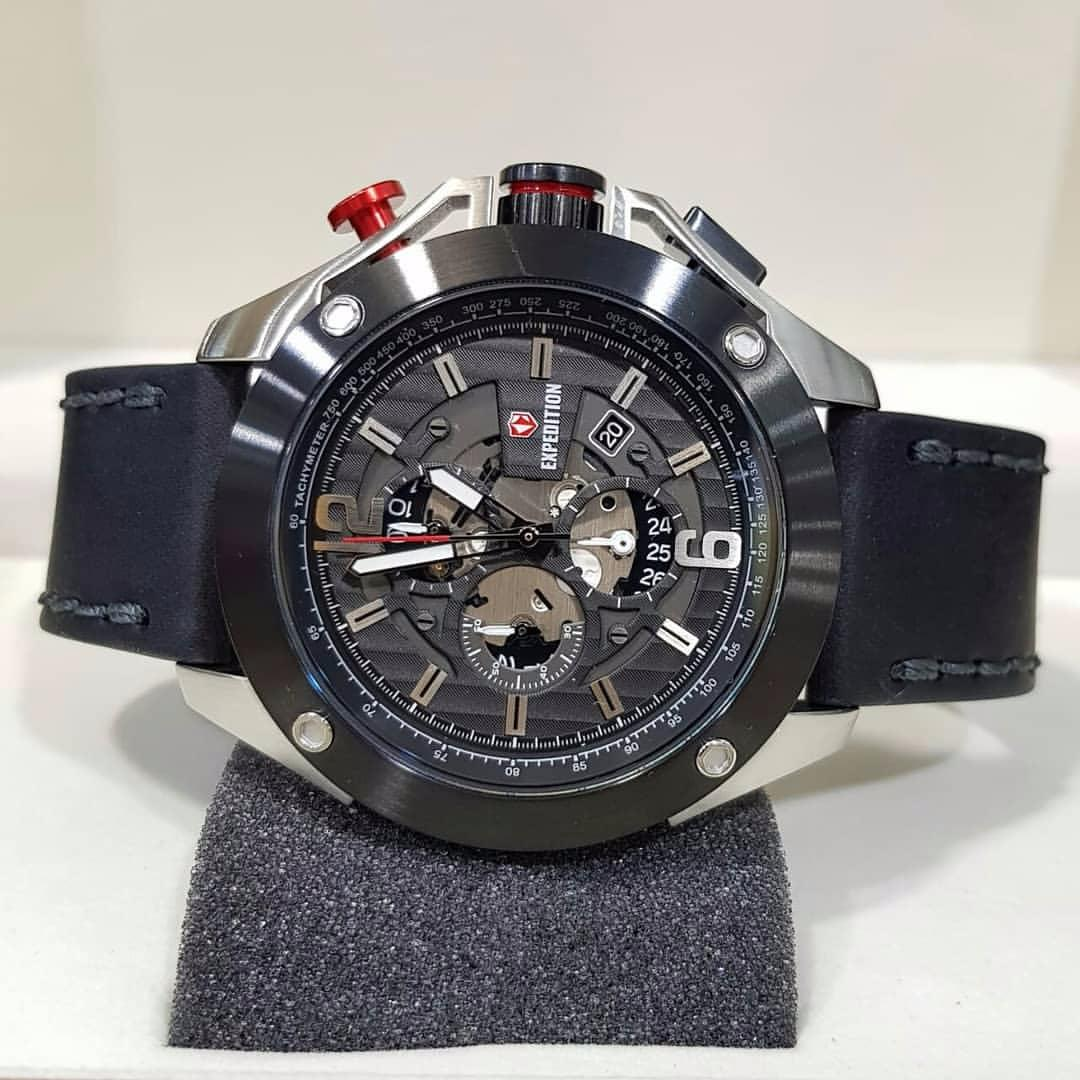 Expedition Ex089 J Jam Tangan Pria Kulit Original Daftar Harga 6721 Black Merah E6697m Stainless Leather