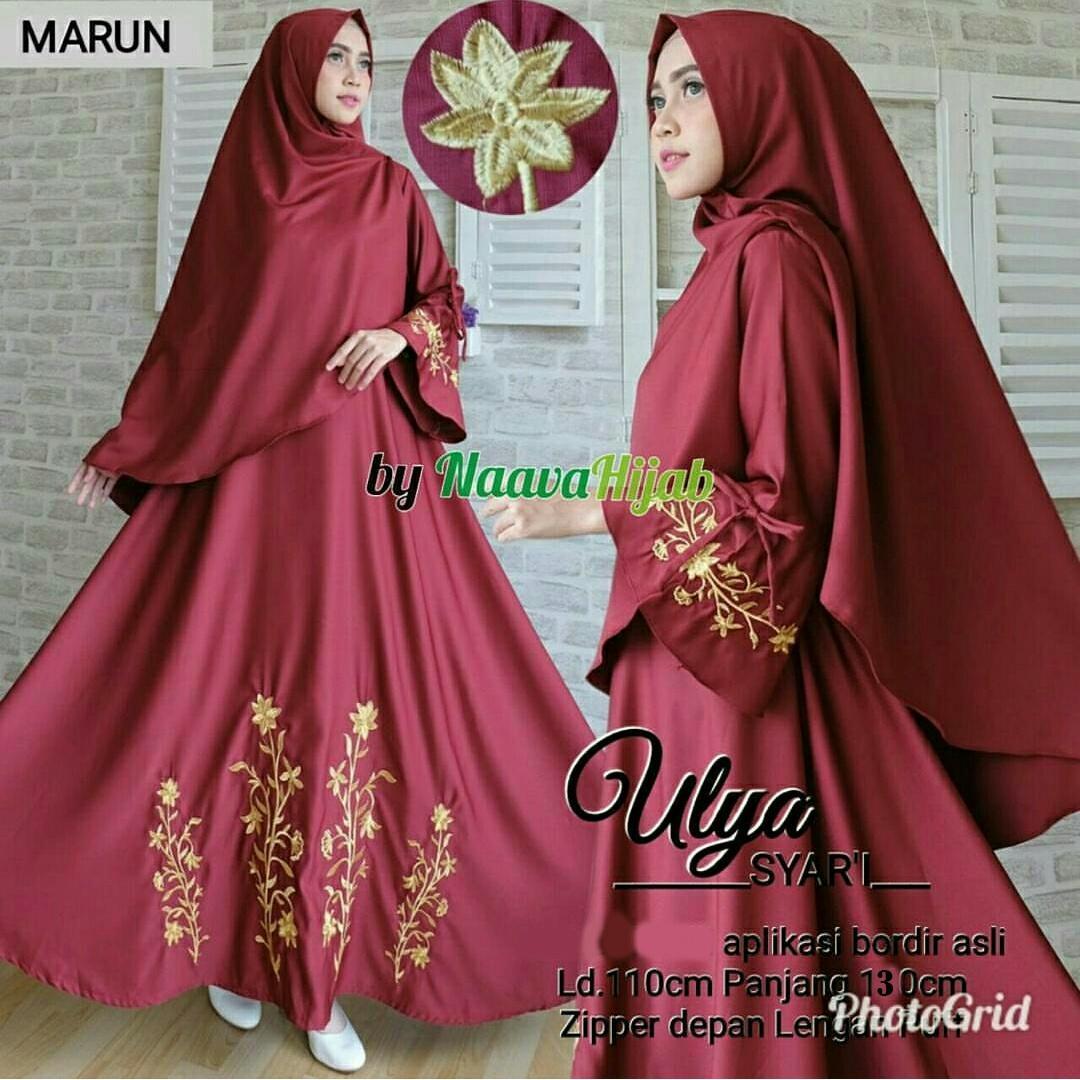 Fashionshop Gamis Syari Hijab Alga Bordir / Dress Muslim / Gamis Wanita / Baju Muslim / Hijab Muslim / Fashion Muslim / Syar'i Muslim / Maxi Dress Lengan Panjang / Gamis Modern / Free Jilbab / Jilbab / Pashmina / Damai / Hijab Masa Kini