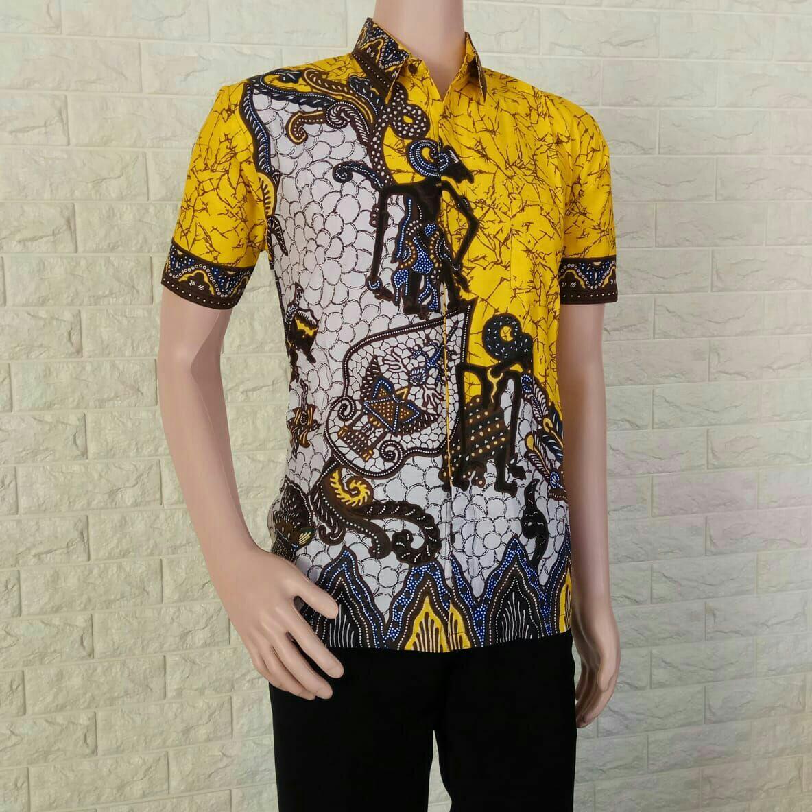Jual Kemeja Batik Pekalongan Baju batik Pria Hem Batik Pekalongan Pandawa - Kuning