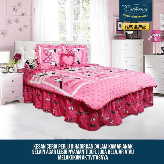 Sprei CALIFORNIA RUMBAI motif PINK MINNIE King Size 180 x 200 cm