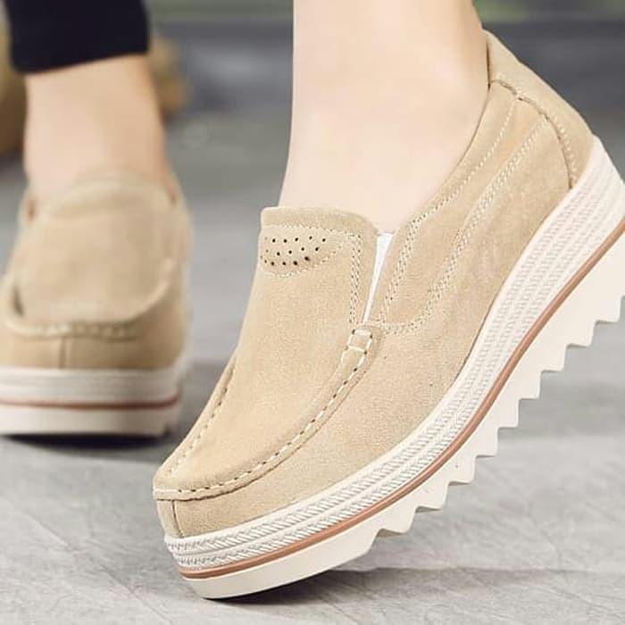 Sepatu wedges slip on gerigi navy cream baru murah Ezell Shop