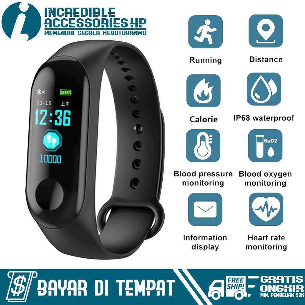 Smartwatch Sport M3 Color IPS Screen Smart Sport Fitness Bracelet IP68 Waterproof Blood Pressure Oxygen Activity Tracker - Hitam