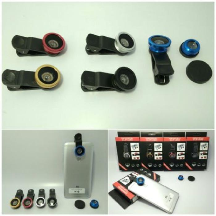LENSA 3 IN 1 FISH EYES - WIDE VIEWS AND MACRO FOR CAMERA HP WITH CLIP
