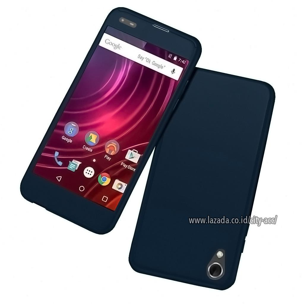 Case Front Back 360 Degree Full Protection for Infinix Hot 2 ( X510 ) - Dark Blue + Tempered Glass