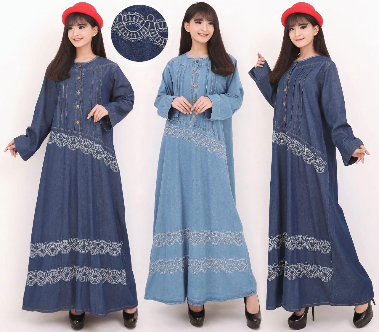 Cj collection Dress jeans maxi panjang wanita jumbo long dress Adari