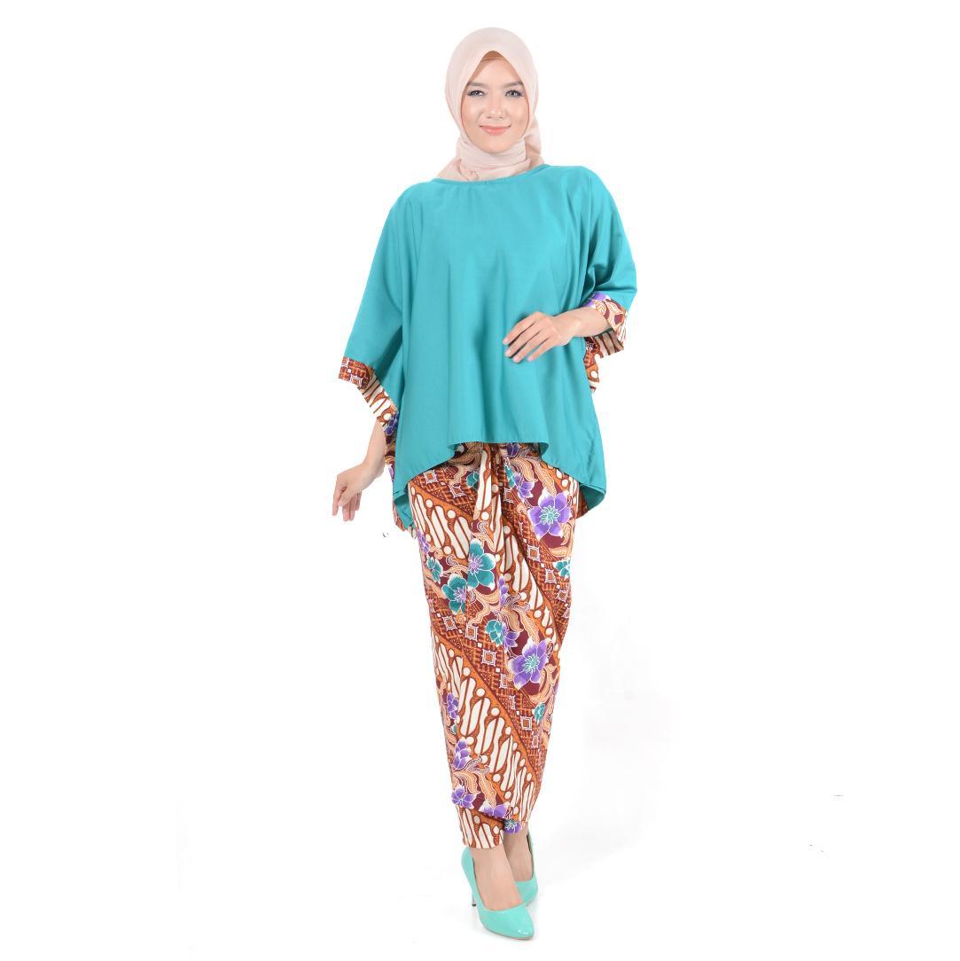 TREXCO Gamis Set Muslim 2 in 1 / Baju batik / Batik Wanita / Batik Muslim Indriyana - (4 Warna)