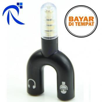 Rimas Cod Spliter Audio Shape U 3.5mm Ke Headphone & Mic - Black / Hitam / Red / Merah - Splitter Sambungan Untuk Headset Microphone Secara Bersamaan Berkualitas Free Ongkir By Rimas Tech.