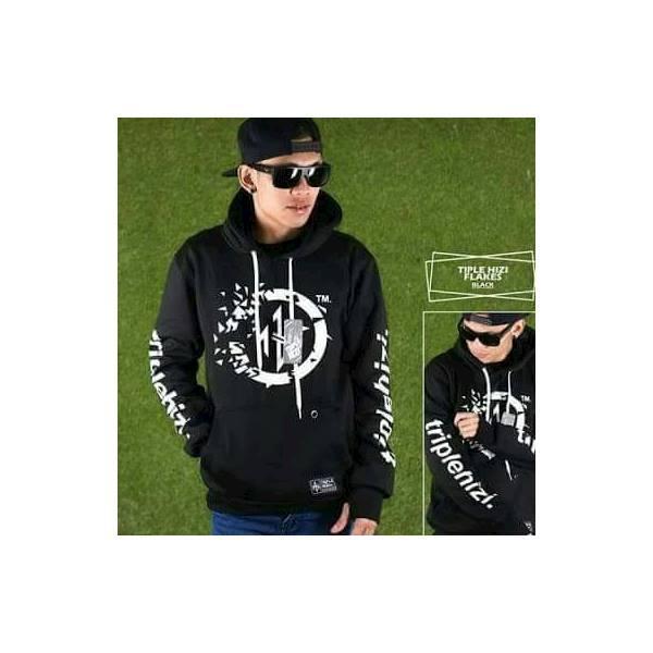 Jaket Bahan Fleece Jumper Allsize Hitam Triple Hizi