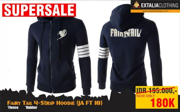 Harga Spesial!! JAKET FAIRY TAIL 4-STRIP HOODIE ANIME JACKET JA FT 18 - ready stock