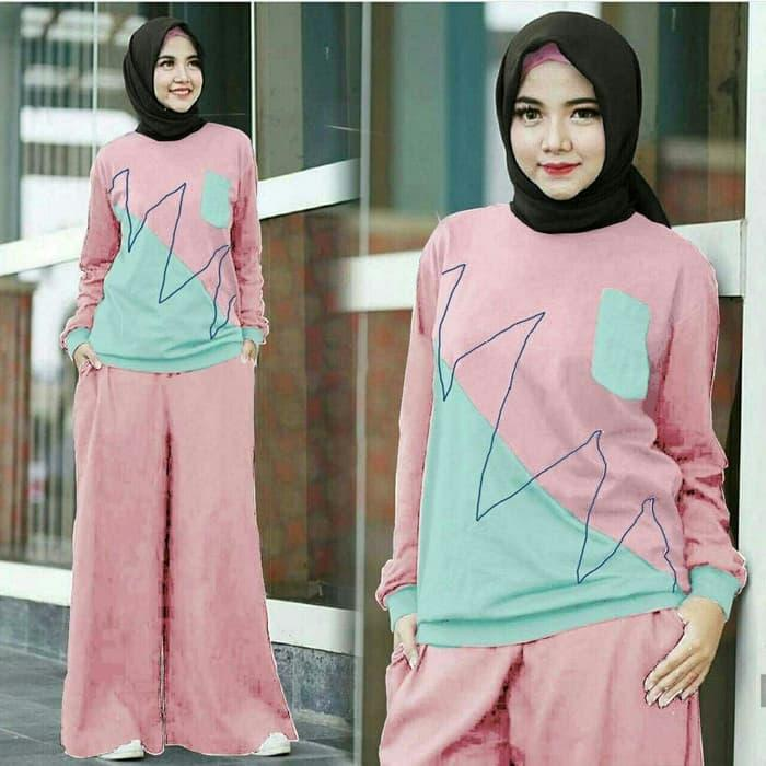 Yumna Set Pink Baju Setelan Muslim Busana Muslim Wanita