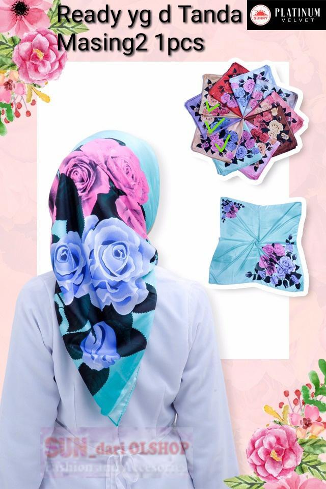 Hijab / Jilbab / Kerudung Segi Empat Saudia By Sunny Original motif bunga wang_olshop