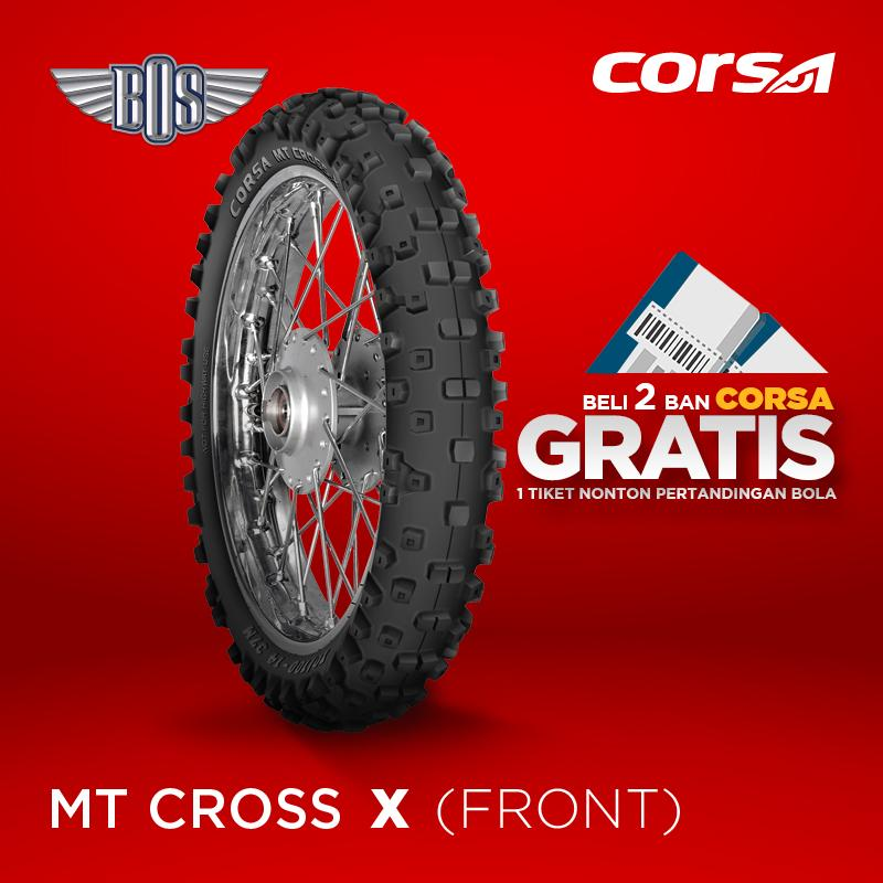 Ban Motor Corsa MT Cross-X(Front) 70/100 - 14 TUBE TYPE GRATIS JASA PASANG