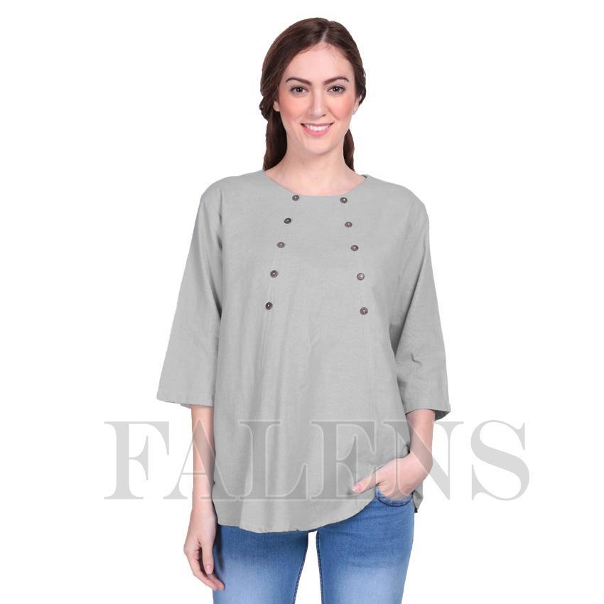Falens Donita Top Atasan Wanita Baju Blouse Cewek Fashion Bagus Cantik Bahan Adem – Abu abu muda
