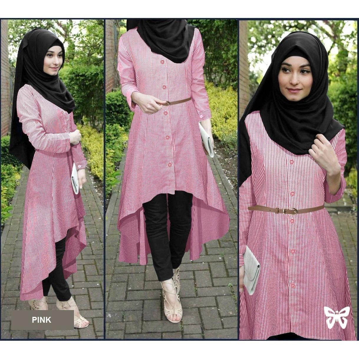 ... Flavia Store Baju Muslim Wanita Set 4 in 1 Salur FS0693 - PINK / Setelan Muslimah