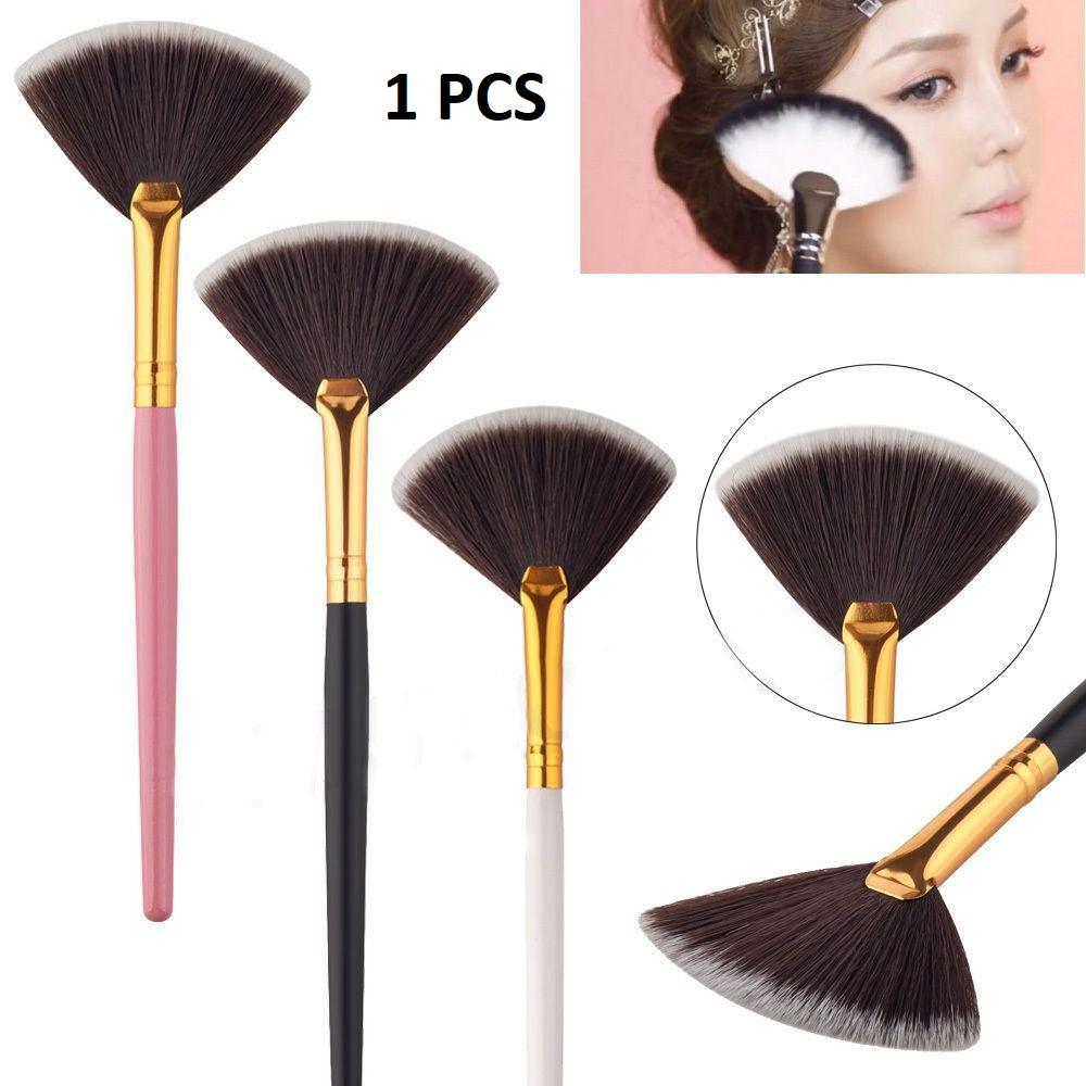 BRUSH BENTUK KIPAS ALAT MERATAKAN BEDAK BLUSH ON BERKUALITAS GOLD PINK BLACK