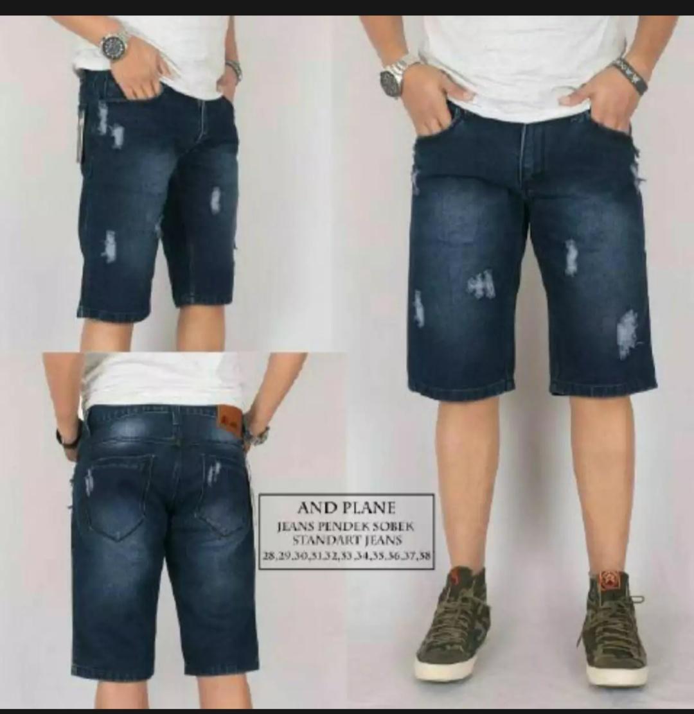 Celana jeans pendek sobek distro-celana pendek premium-celana pendek pria