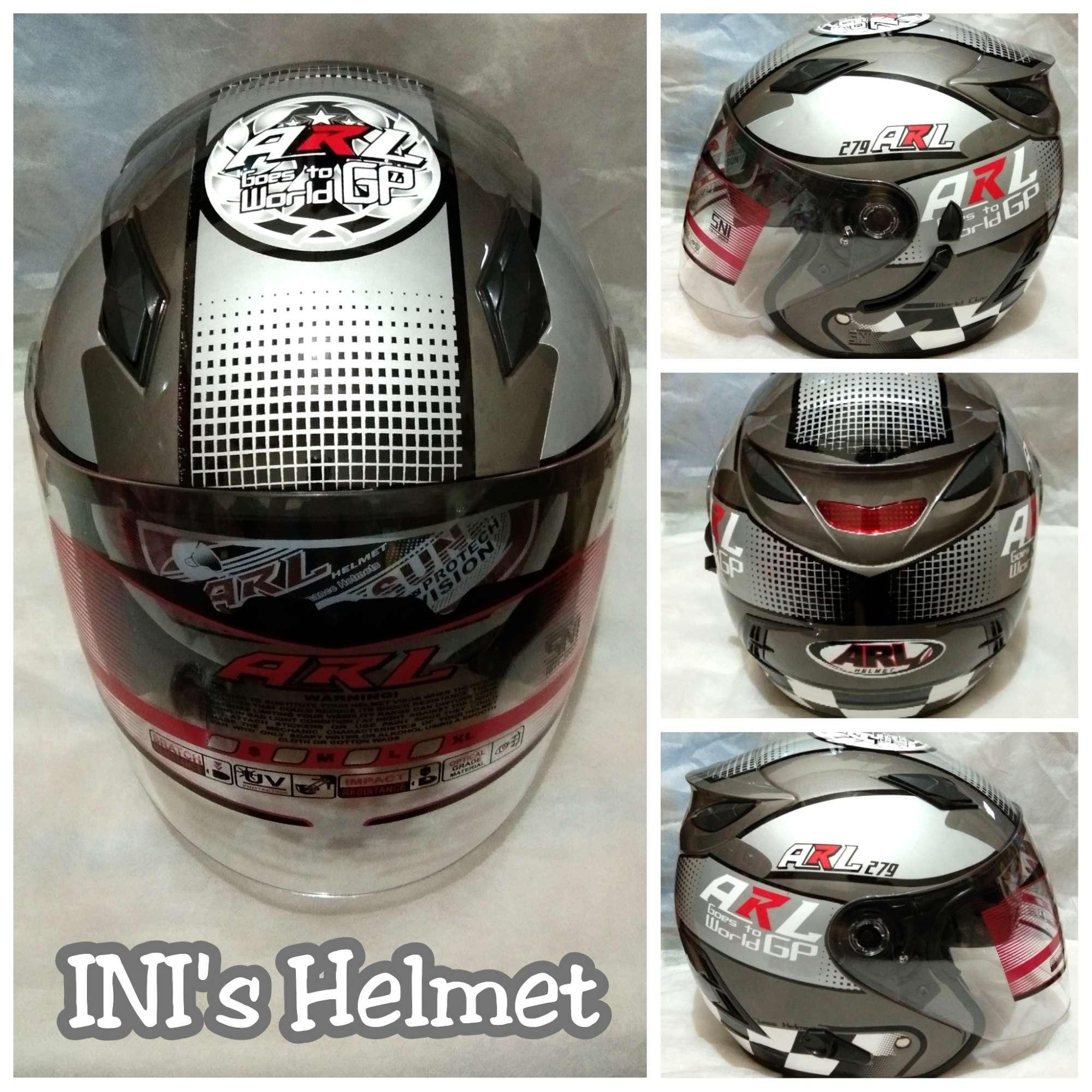 Helm ARL Centro Double Visor 2 Kaca Motif Abu Moto GP - SNI - INIs Mart Jakarta