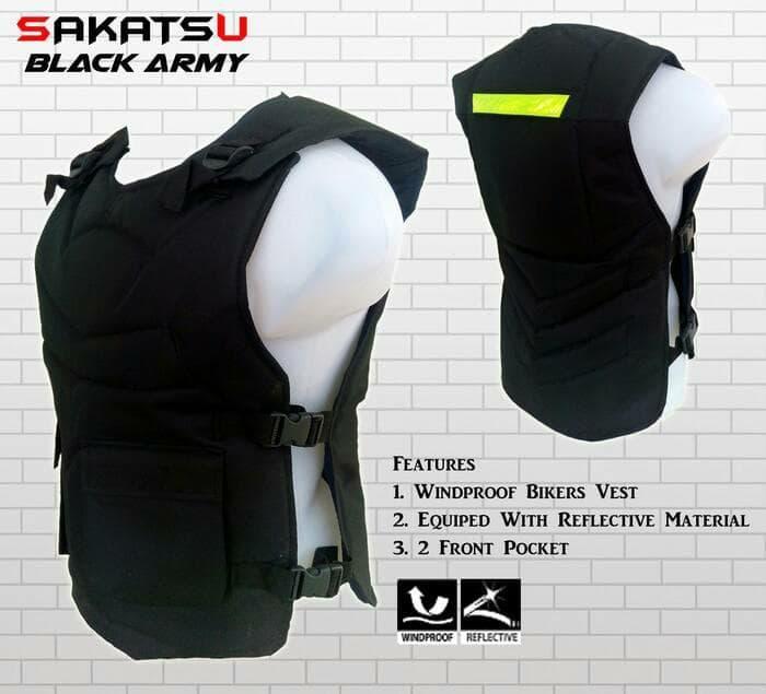 Rompi Motor Sakatsu Black Army | Alas Dada | Body Protector Bikers